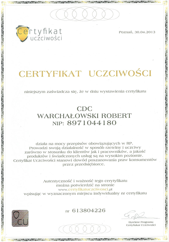 """Nagroda """"Certyfikat uczciwości"""""""